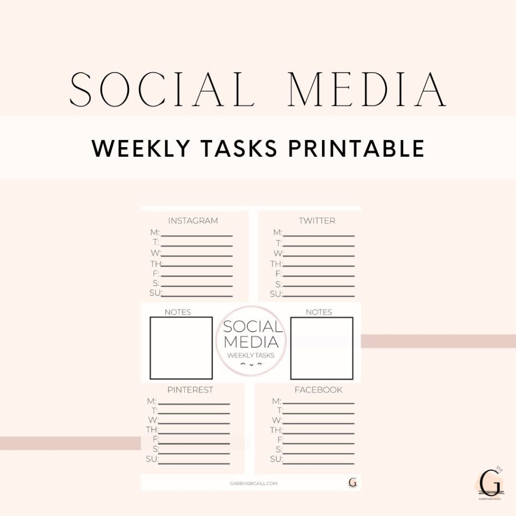 Social media weekly tasks printable