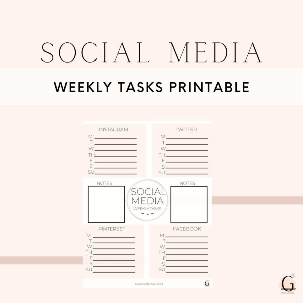 Social media weekly tasks printable