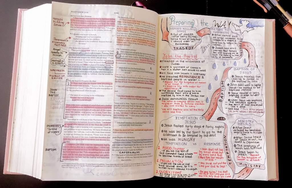 EsV Interleaved Journaling Bible opened in the book of Matthew