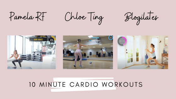 Pamela, Chloe and Cassey are shown doing a cardio workout