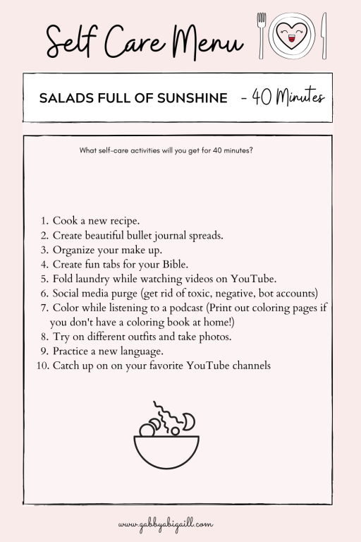 A list of 10 self-care ideas to practice in 40 minutes.