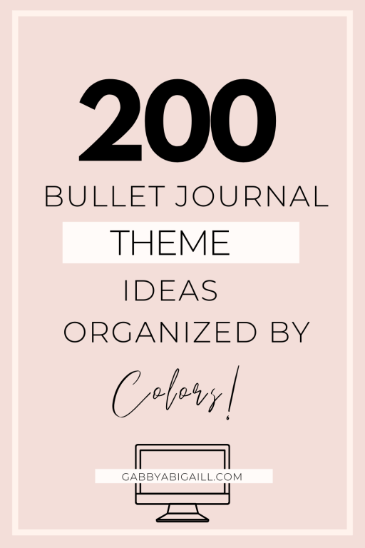 200 bullet journal theme ideas organized by colors
