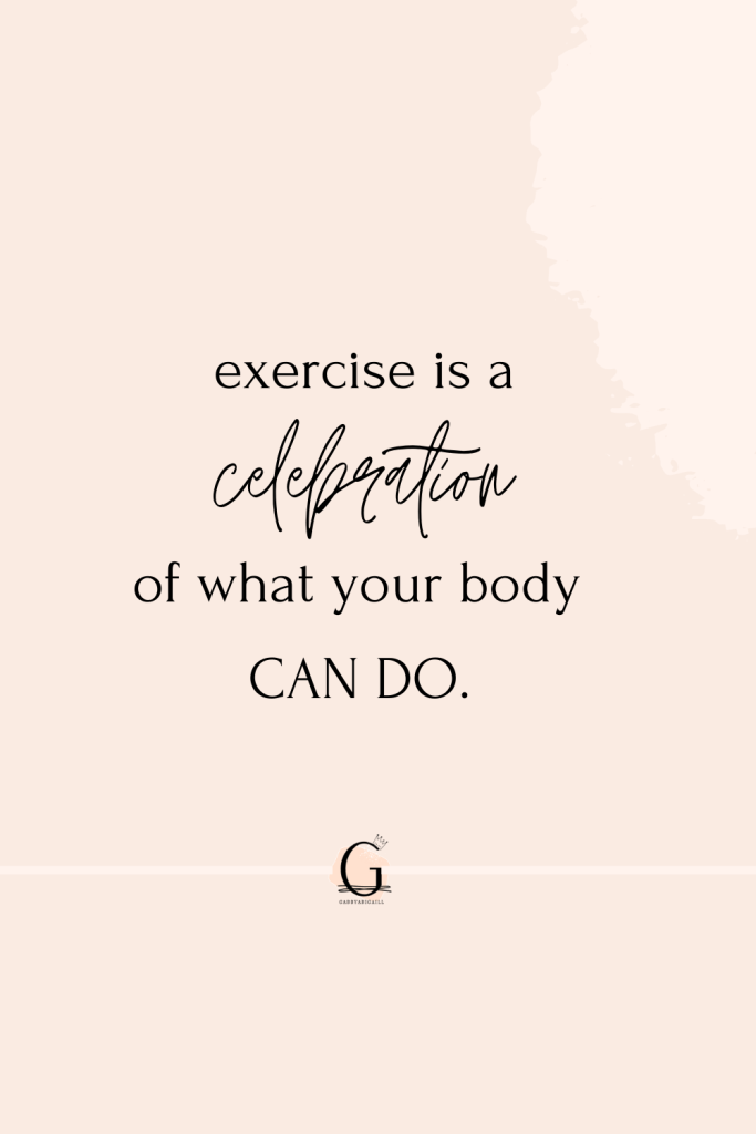 A quote about exercise on a peach background.