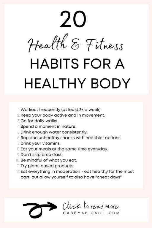 20 health and fitness habits for a healthy body