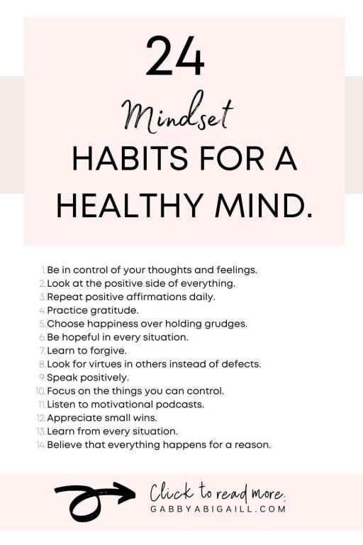 24 mindset habits for a healthy mind
