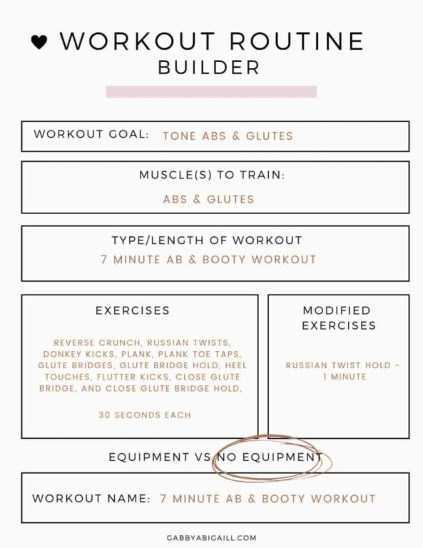7 minute abs and booty workout routine example