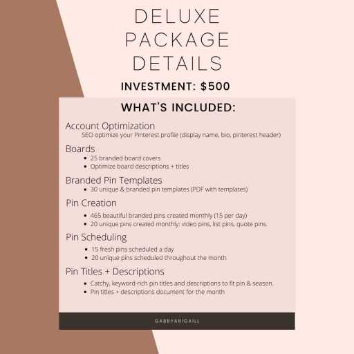 pinterest management services deluxe package details