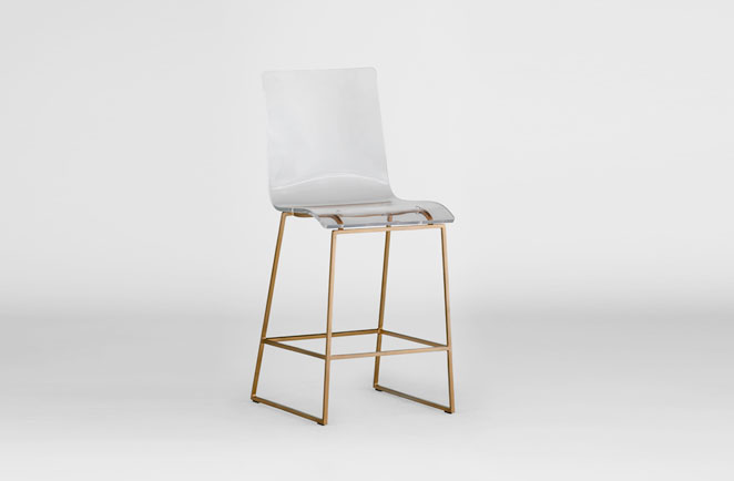 height of bar stools for kitchen counter wooden step the clear acrylic stool | lucite and gold king - gabby
