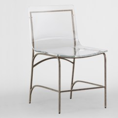 Silver Metal Dining Chairs Orange Leather Chair Gabby Penelope Clear Lucite And