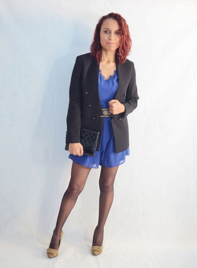 Look elegante con mono azul6