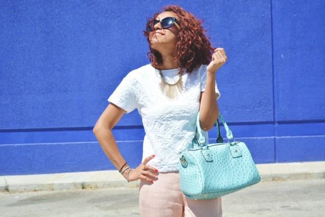 Pantalón rosa cuarzo y turquesa 12