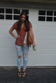 shirt: free people jeans: abercrombie wedges: steve madden bag: urban outfitters