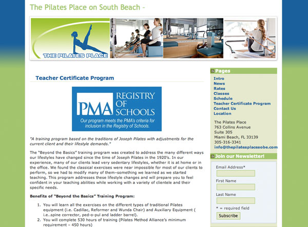 The Pilates Place on South Beach - Teacher training