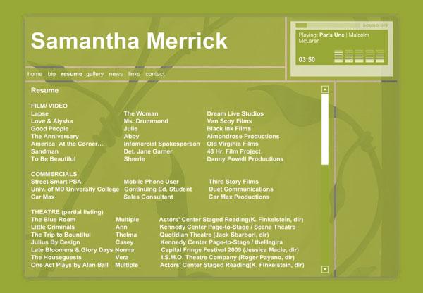 Samantha Merrick, Actor - Website