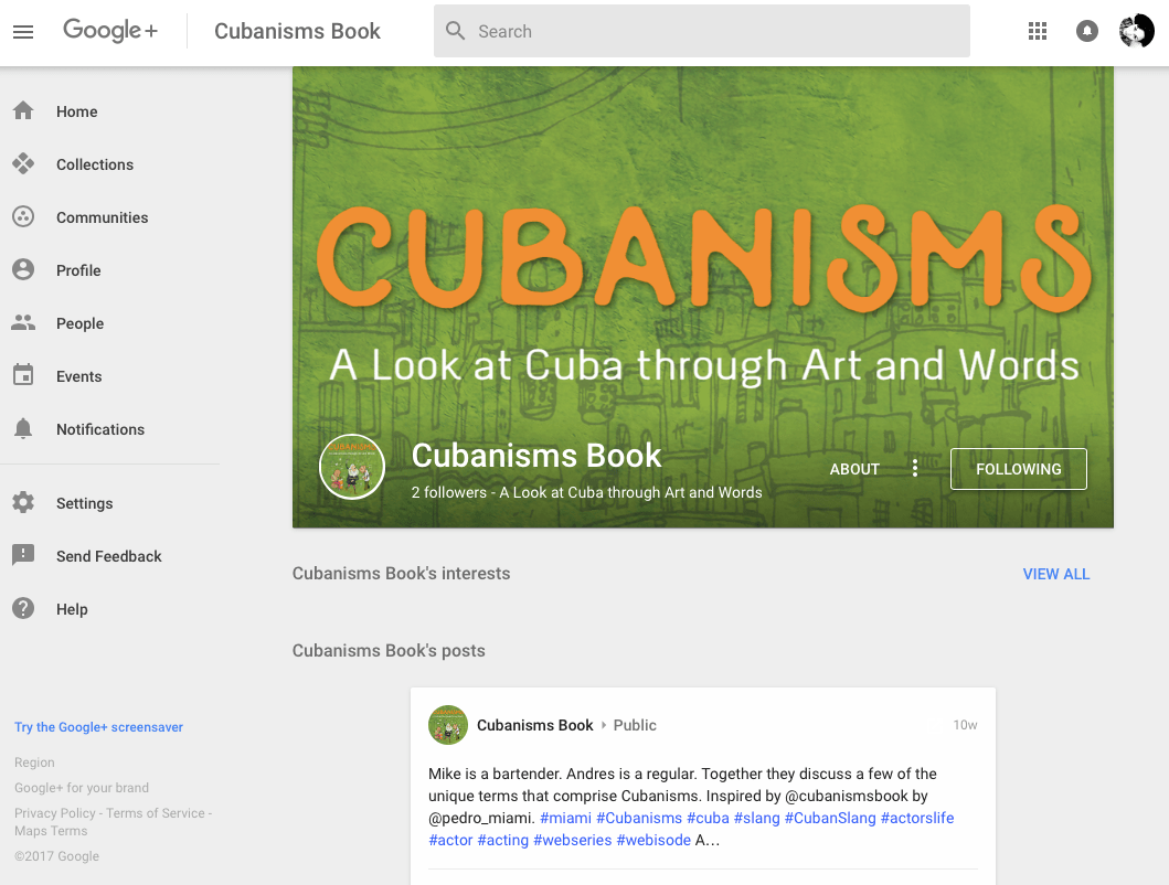 Cubanisms Book on Google+