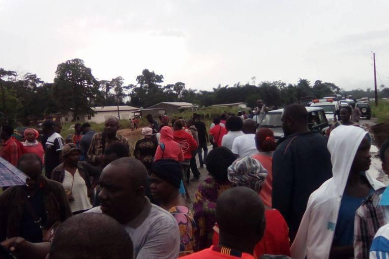 La route nationale coupée à Nkoltang proche de Libreville