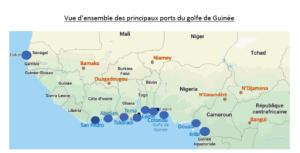 Les différents ports du Golfe de Guinée. Carte extraite du rapport de l'Observatoire Europe Afrique 2030.