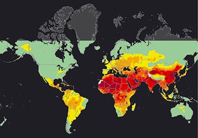 La carte mettant en évidence les zones spécifiques au sein des pays ne respectant pas les limites établies par l'OMS. © Gabonreview