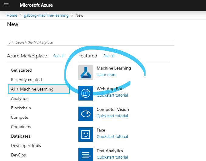 Azure Portal - Machine Learning Workspace