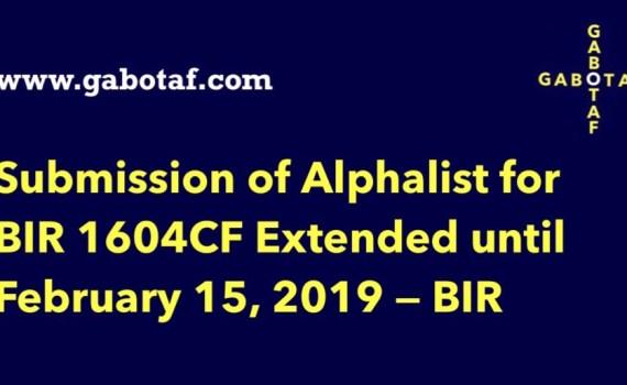 BIR Form 1604CF – GABOTAF