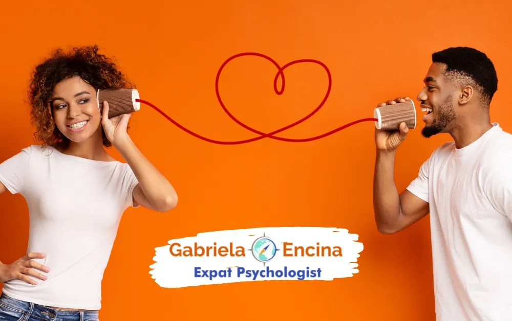 you cannot not communicate - a couple speaking through 2 cups an a cable- Gabriela Encina Expat Psychologist