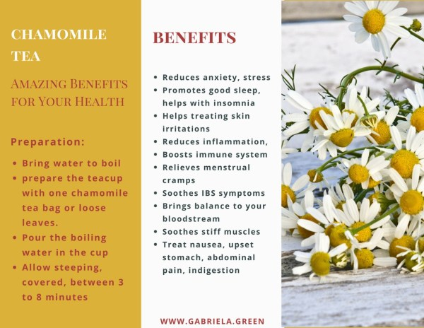 Chamomile Tea Benefits - www.gabriela.green