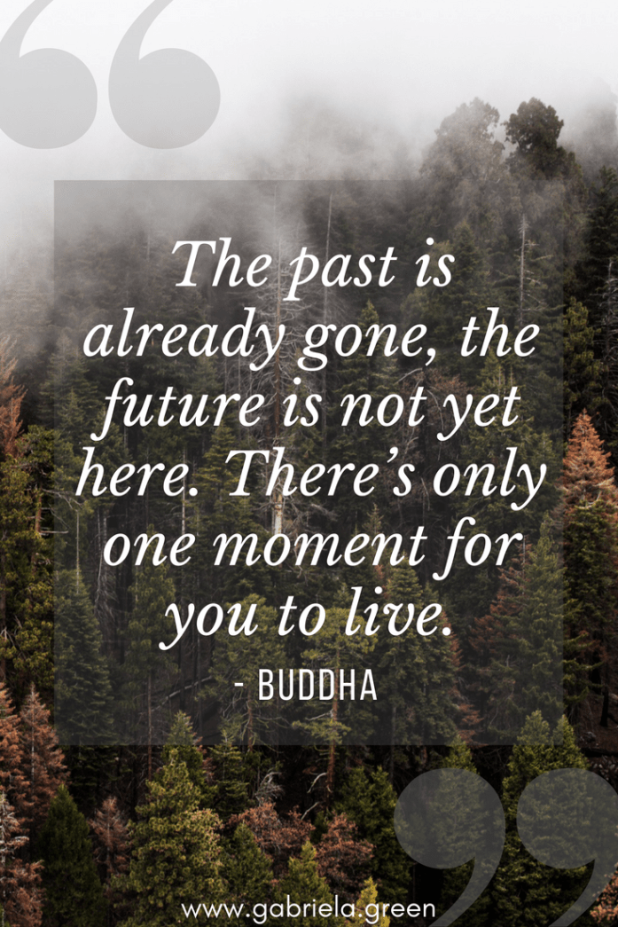"Buddha Quotes ""The past is already gone, the future is not yet here. There's only one moment for you to live."" - www.gabriela.green"