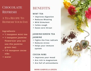 Chocolate Refresh - A Tea Recipe To Refresh Your Day - Tea Benefits - www.gabriela.green