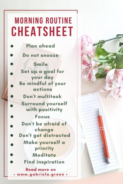Morning Routine Cheatsheet for a more productive and healthy year_ www.gabriela.green