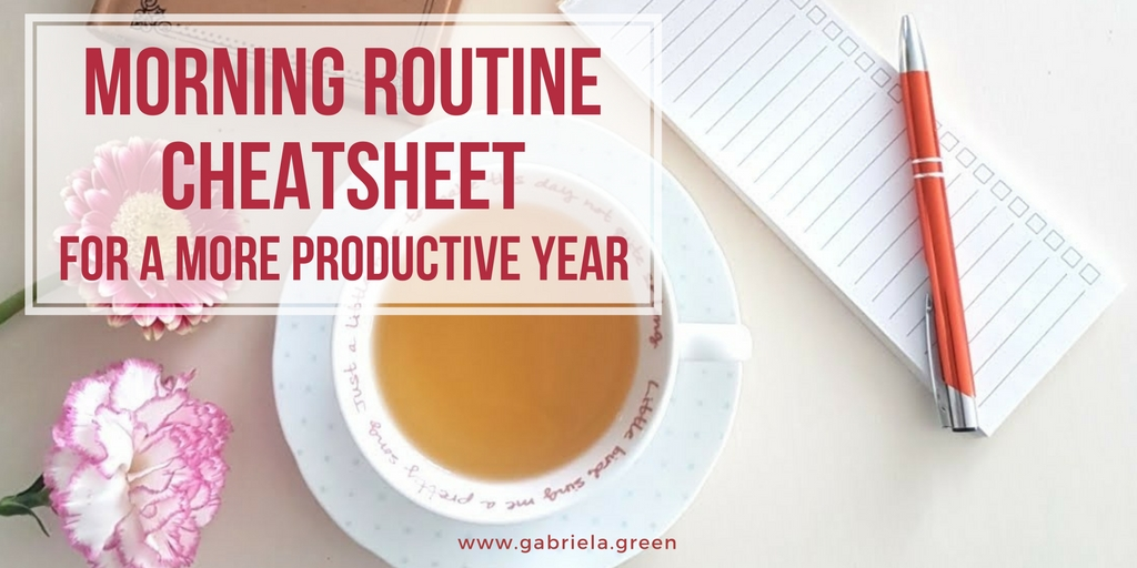Morning routine cheat sheet for a more productive year www.gabriela.green