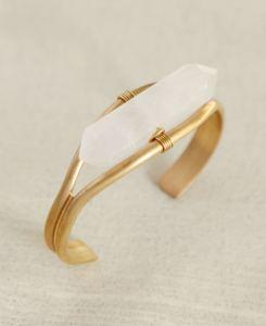 Brass Cuff Bracelet with Healing Clear Quartz Rod (1)