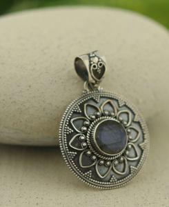 Lotus Metalwork Pendant with Labradorite (1)