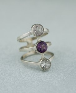Love and Happiness Gemstone Trio Ring