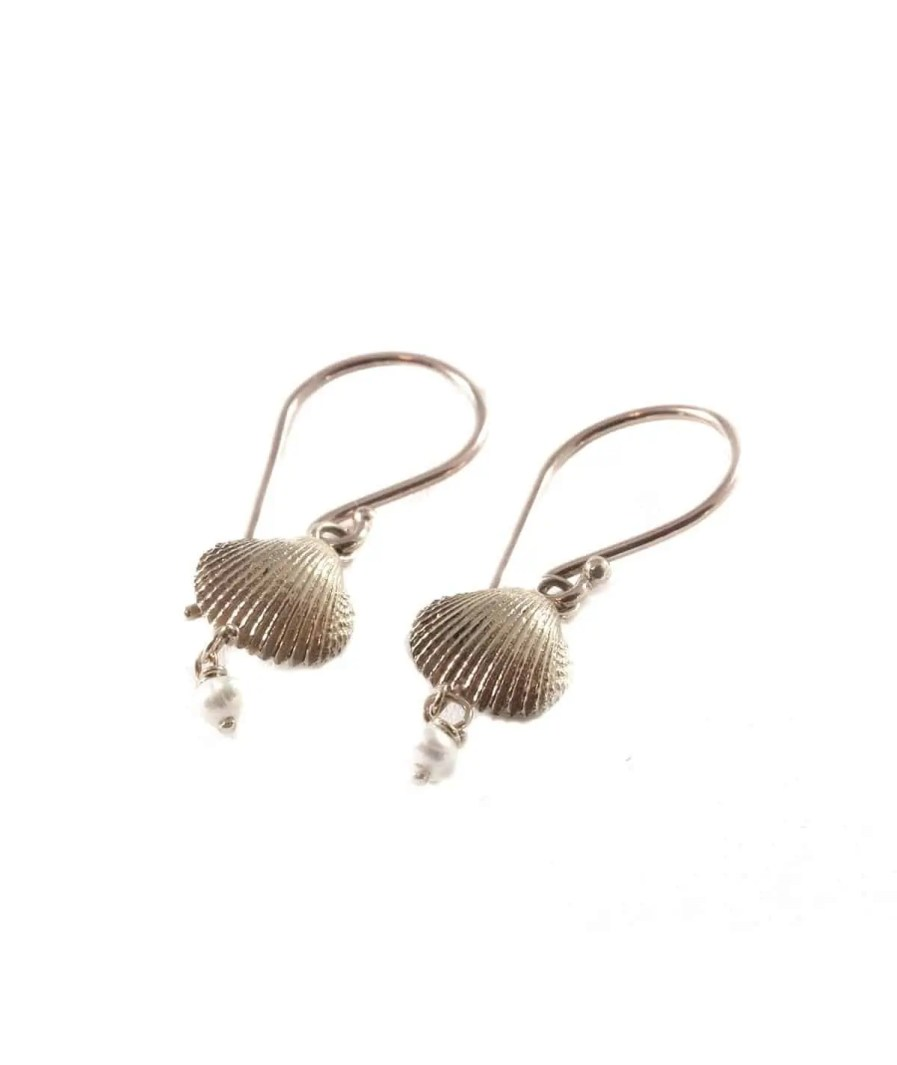 white gold drop seashell and pearl earrings