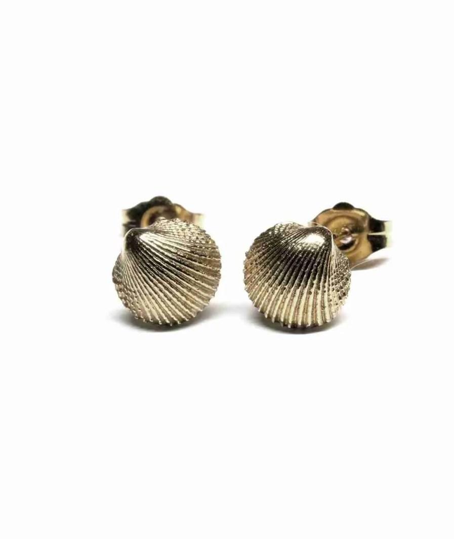 white gold seashell stud earrings