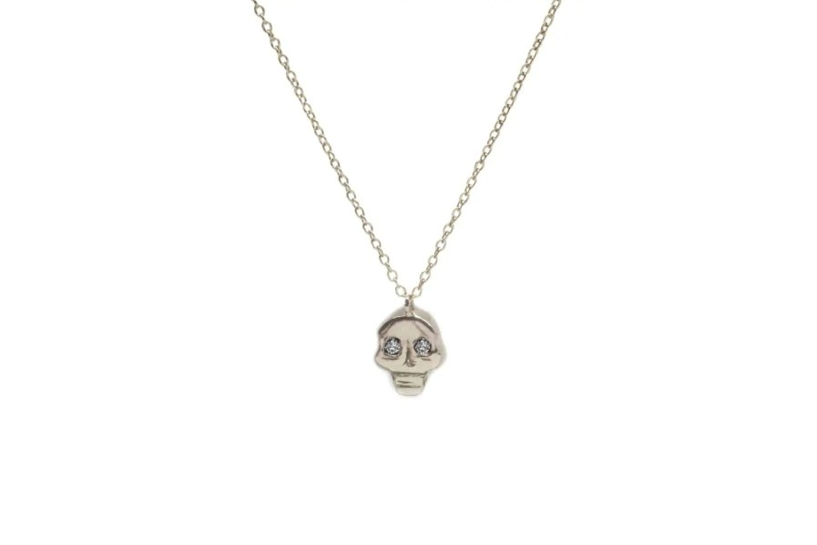 white gold skull pendant