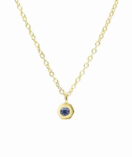 bezel set blue sapphire necklace