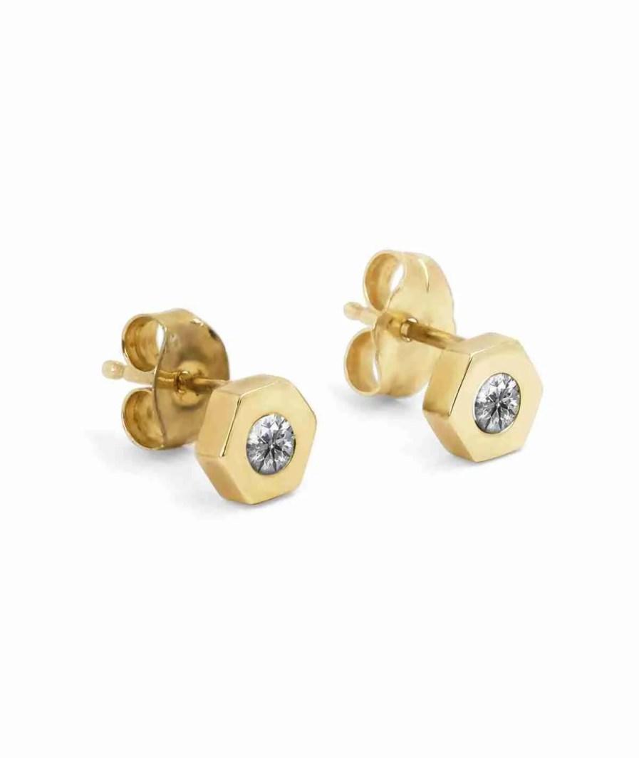 hexagon diamond stud earrings