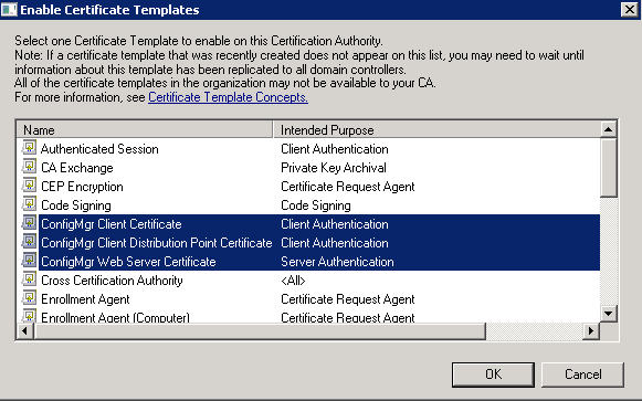 Sccm 2012 part ii certificate configuration gabrielbeaver select all three of the configmgr templates we created then click ok they will then show up in the certificate templates yelopaper Gallery