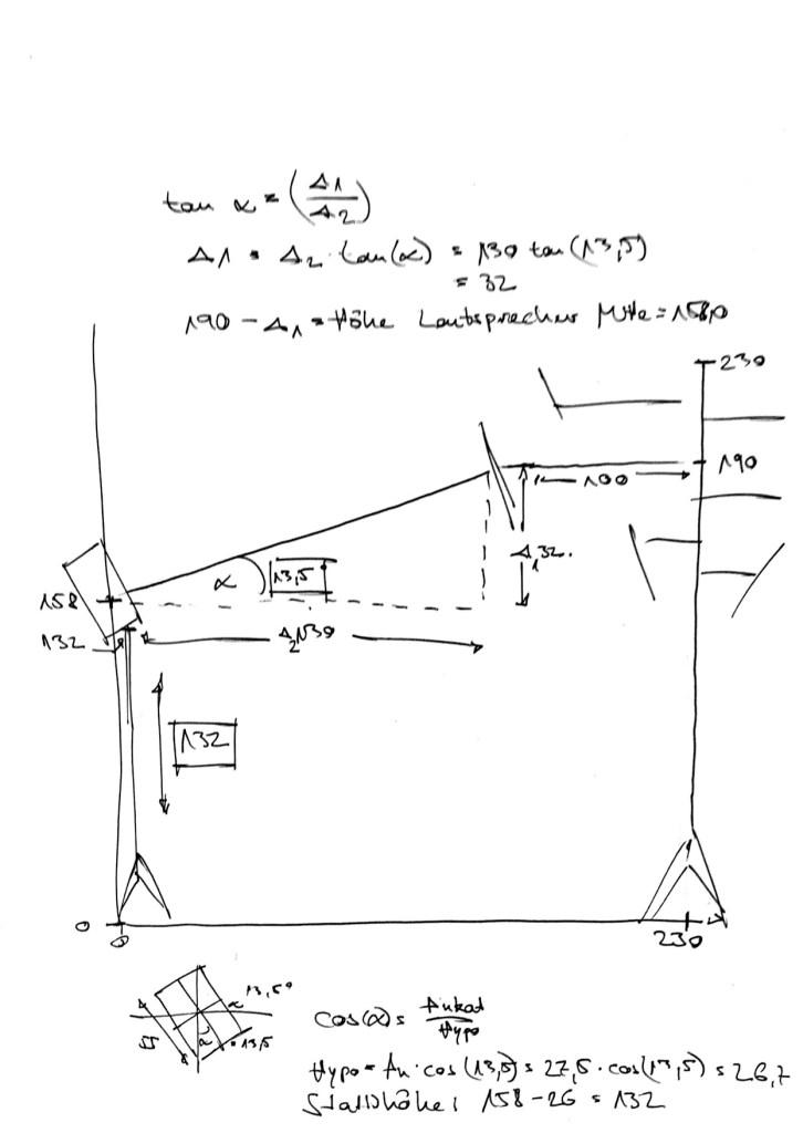 Technische Skizze Diffusorkonstruktion Seitenansicht
