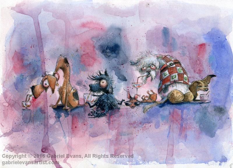 Hair of the Dog -Watercolour, Gouache & Ink
