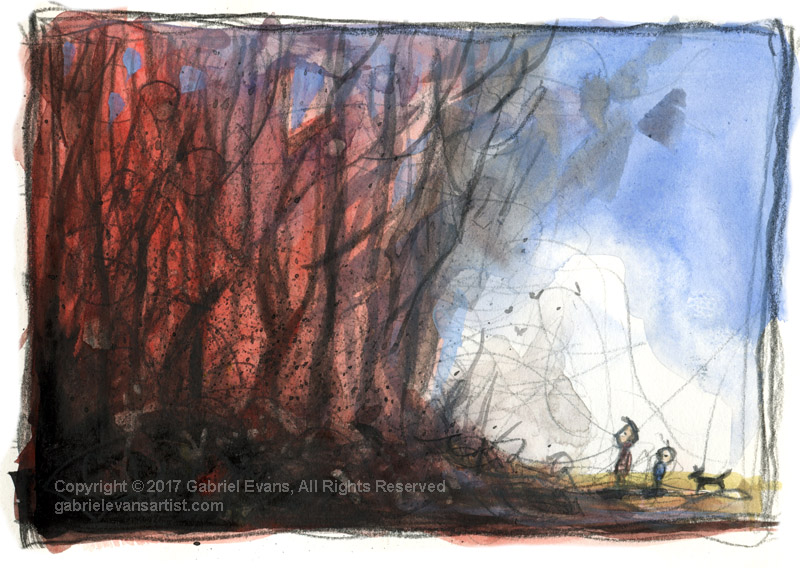 After the Fire #2 - Watercolour and Pencil