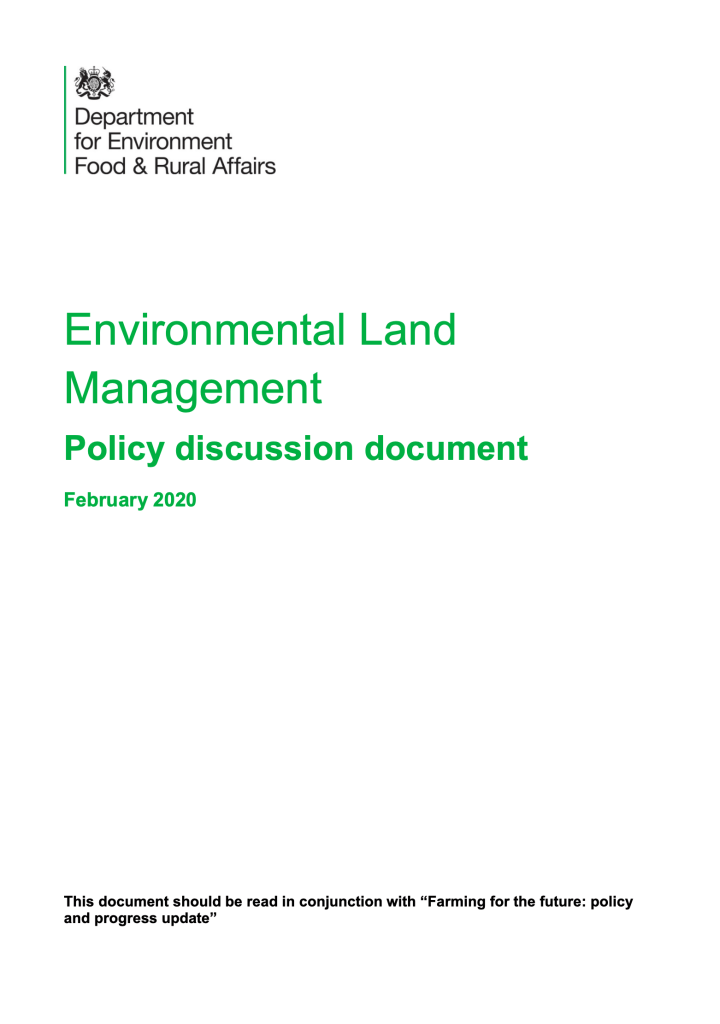 Defra ELMs policy discussion document published 25 May 2020