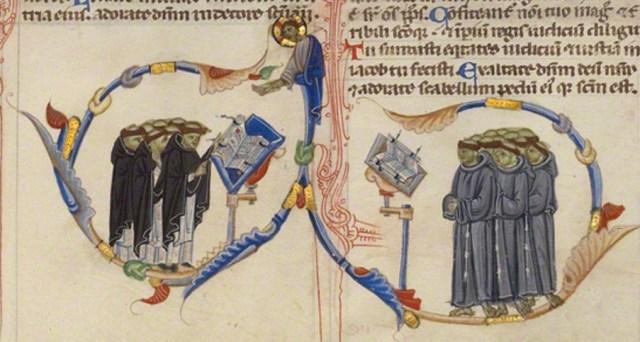 Cori di domenicani (sx) e francescani (dx) - codice miniato