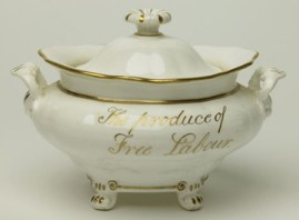 Sugar bowl inscribed 'East India Sugar. The produce of Free Labour'.