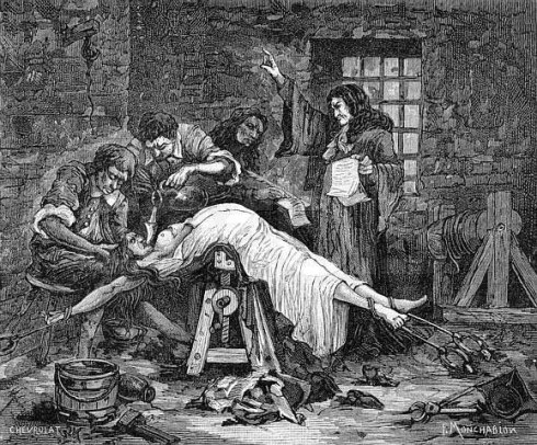 A picture of the torture of poisoner Marie-Madeleine-Marguerite d'Aubray, Marchioness of Brinvilliers, in the seventeenth century.
