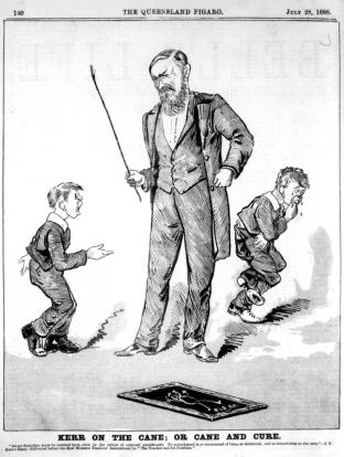 Cartoon_of_students_receiving_the_cane,_1888