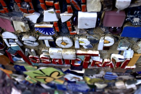Jim Powers placed these mosaic tiles in this spot 25 years ago. Photo by Gabrielle A. Wright