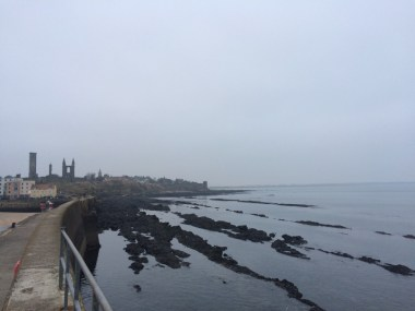 View of Castle Sands from the pier. You can also see the ruins of St Andrews Cathedral to the left.
