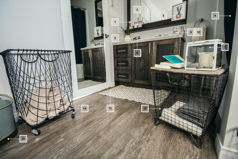petite salle de bain - décoration- panier à linge-tapis-rangement-chandelle